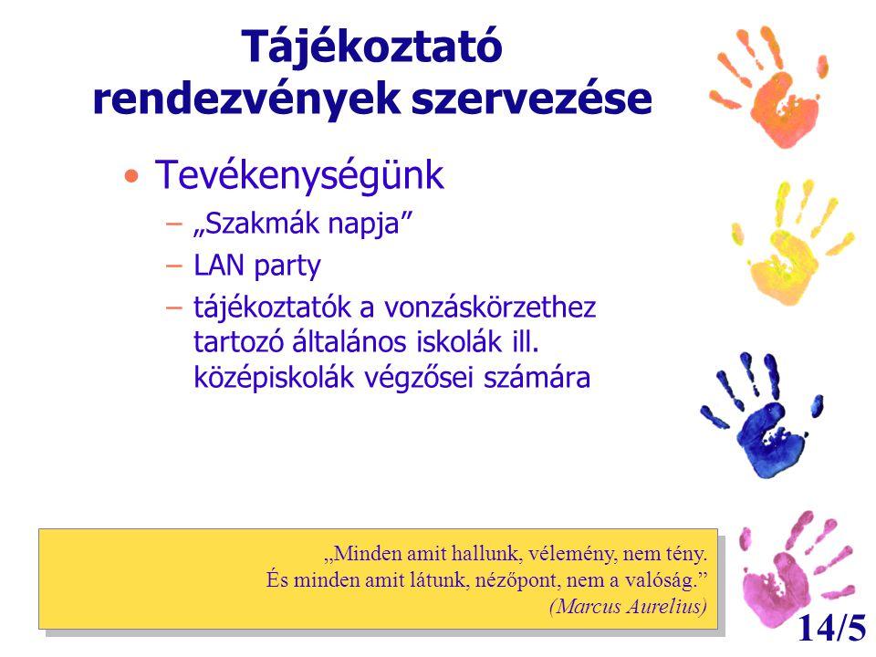 """14/5 Tájékoztató rendezvények szervezése •Tevékenységünk –""""Szakmák napja"""" –LAN party –tájékoztatók a vonzáskörzethez tartozó általános iskolák ill. kö"""