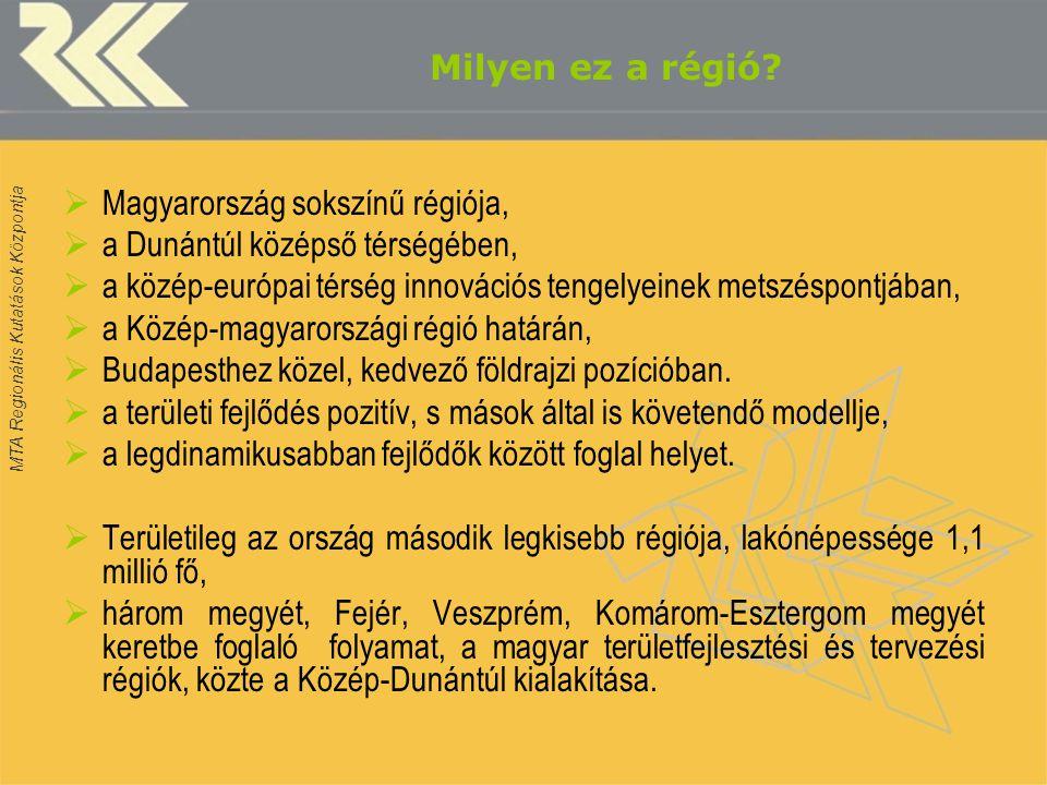 MTA Regionális Kutatások Központja Milyen ez a régió?  Magyarország sokszínű régiója,  a Dunántúl középső térségében,  a közép-európai térség innov