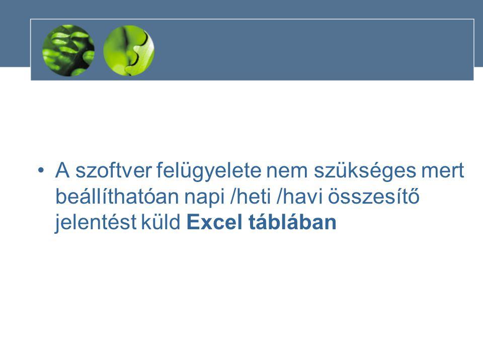 •A szoftver felügyelete nem szükséges mert beállíthatóan napi /heti /havi összesítő jelentést küld Excel táblában