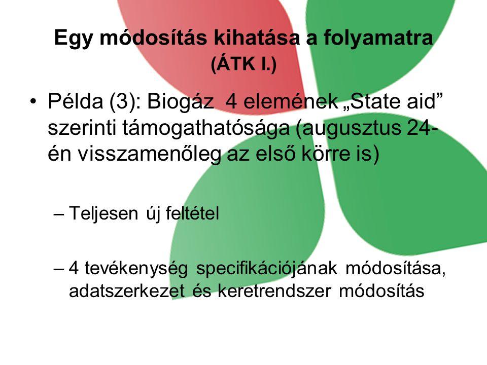 """Egy módosítás kihatása a folyamatra (ÁTK I.) •Példa (3): Biogáz 4 elemének """"State aid szerinti támogathatósága (augusztus 24- én visszamenőleg az első körre is) –Teljesen új feltétel –4 tevékenység specifikációjának módosítása, adatszerkezet és keretrendszer módosítás"""