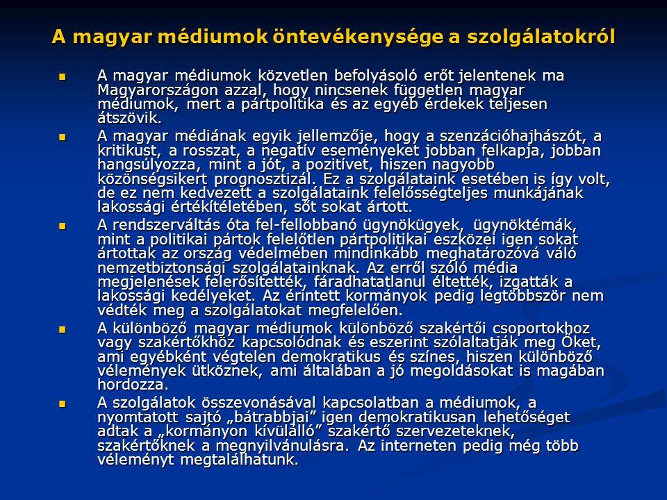 A magyar médiumok öntevékenysége a szolgálatokról  A magyar médiumok közvetlen befolyásoló erőt jelentenek ma Magyarországon azzal, hogy nincsenek fü