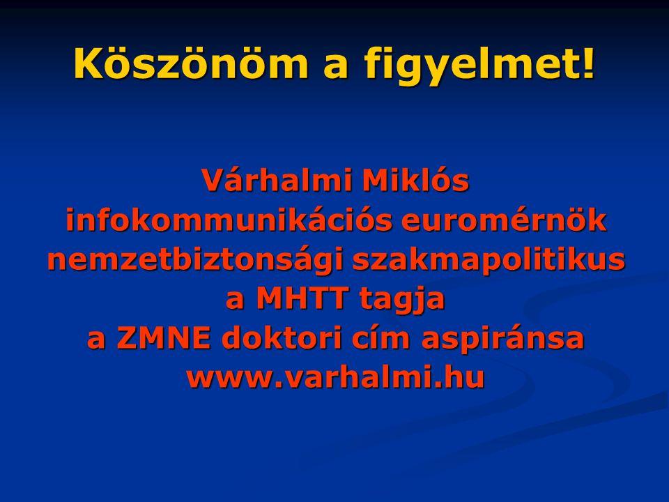 Köszönöm a figyelmet! Várhalmi Miklós infokommunikációs euromérnök nemzetbiztonsági szakmapolitikus a MHTT tagja a ZMNE doktori cím aspiránsa www.varh
