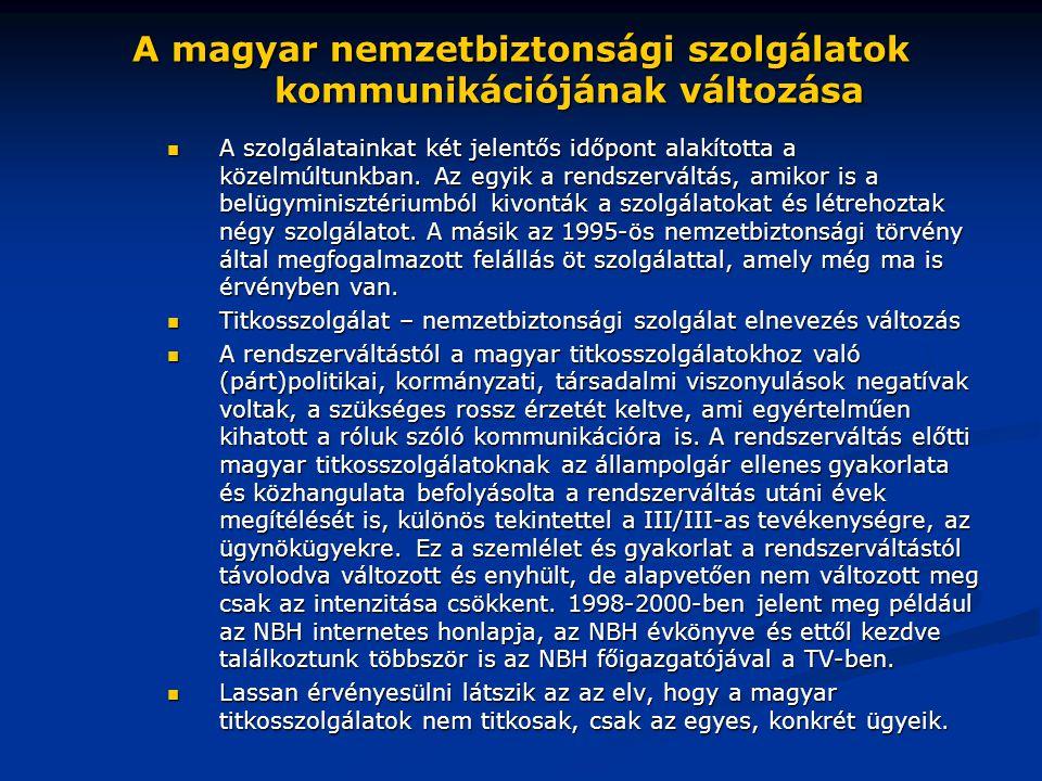 A magyar nemzetbiztonsági szolgálatok kommunikációjának változása  A szolgálatainkat két jelentős időpont alakította a közelmúltunkban. Az egyik a re