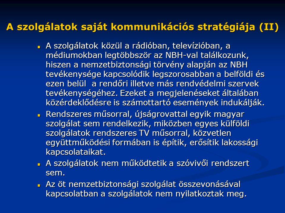 A szolgálatok saját kommunikációs stratégiája (II)  A szolgálatok közül a rádióban, televízióban, a médiumokban legtöbbször az NBH-val találkozunk, h