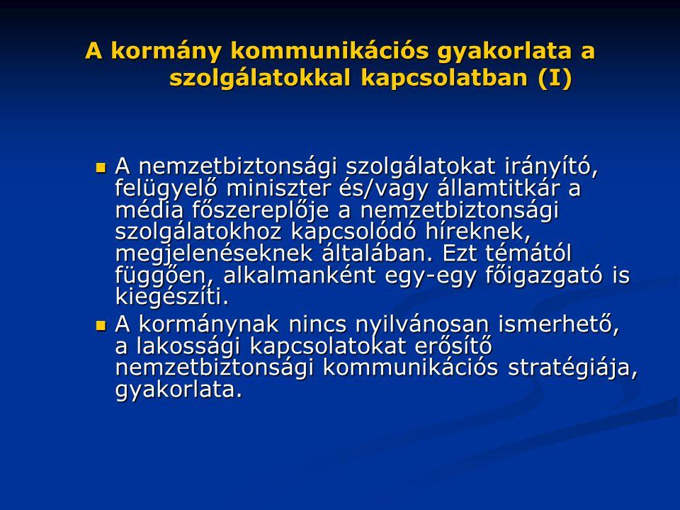 A kormány kommunikációs gyakorlata a szolgálatokkal kapcsolatban (I)  A nemzetbiztonsági szolgálatokat irányító, felügyelő miniszter és/vagy államtit