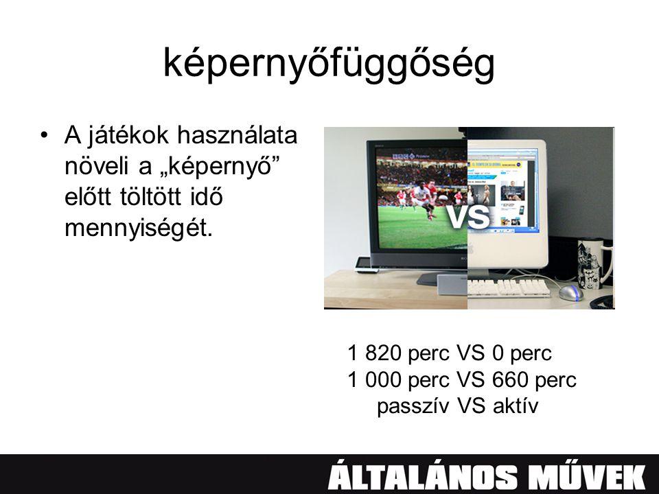 """képernyőfüggőség •A játékok használata növeli a """"képernyő"""" előtt töltött idő mennyiségét. 1 820 perc VS 0 perc 1 000 perc VS 660 perc passzív VS aktív"""