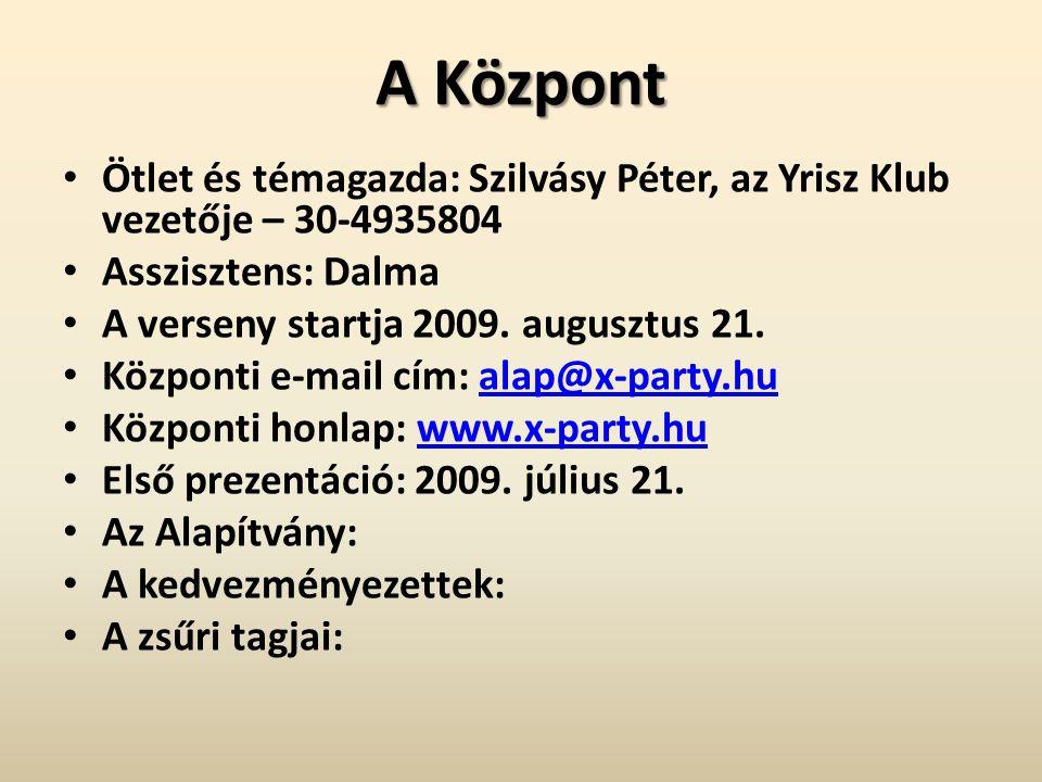 A Központ • Ötlet és témagazda: Szilvásy Péter, az Yrisz Klub vezetője – 30-4935804 • Asszisztens: Dalma • A verseny startja 2009.