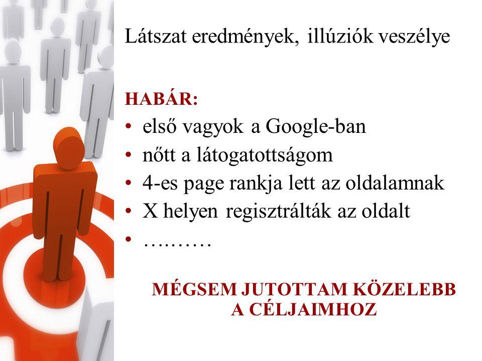 Látszat eredmények, illúziók veszélye HABÁR: •első vagyok a Google-ban •nőtt a látogatottságom •4-es page rankja lett az oldalamnak •X helyen regisztrálták az oldalt •….…… MÉGSEM JUTOTTAM KÖZELEBB A CÉLJAIMHOZ