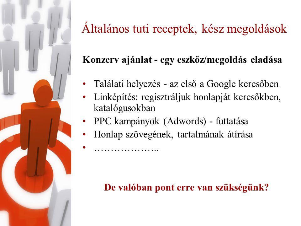 Általános tuti receptek, kész megoldások Konzerv ajánlat - egy eszköz/megoldás eladása •Találati helyezés - az első a Google keresőben •Linképítés: regisztráljuk honlapját keresőkben, katalógusokban •PPC kampányok (Adwords) - futtatása •Honlap szövegének, tartalmának átírása •………………..