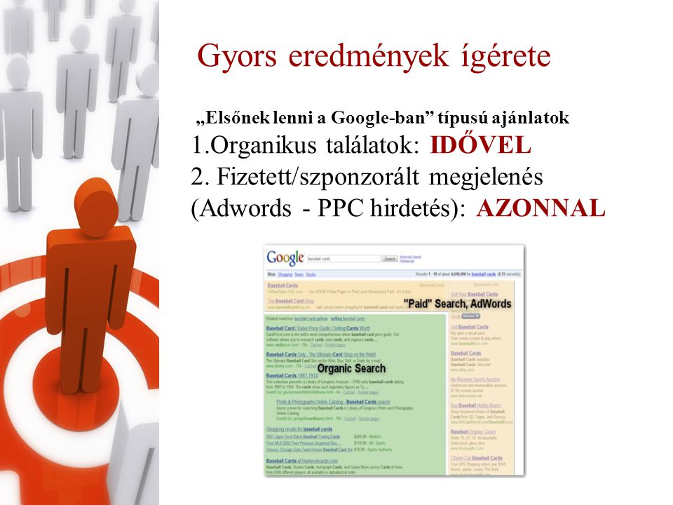 """Gyors eredmények ígérete """"Elsőnek lenni a Google-ban típusú ajánlatok 1.Organikus találatok: IDŐVEL 2."""