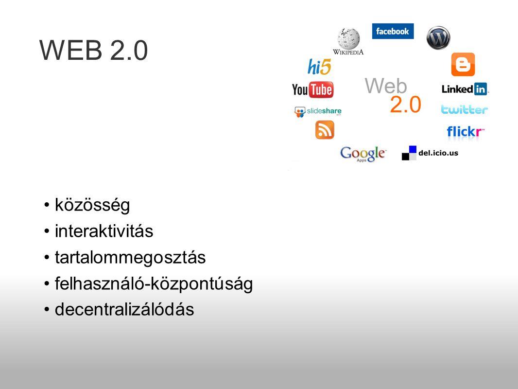 WEB 2.0 • közösség • interaktivitás • tartalommegosztás • felhasználó-központúság • decentralizálódás