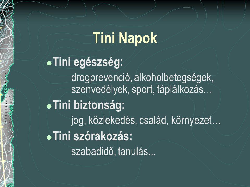 Tini Napok  Tini egészség: drogprevenció, alkoholbetegségek, szenvedélyek, sport, táplálkozás…  Tini biztonság: jog, közlekedés, család, környezet…  Tini szórakozás: szabadidő, tanulás...