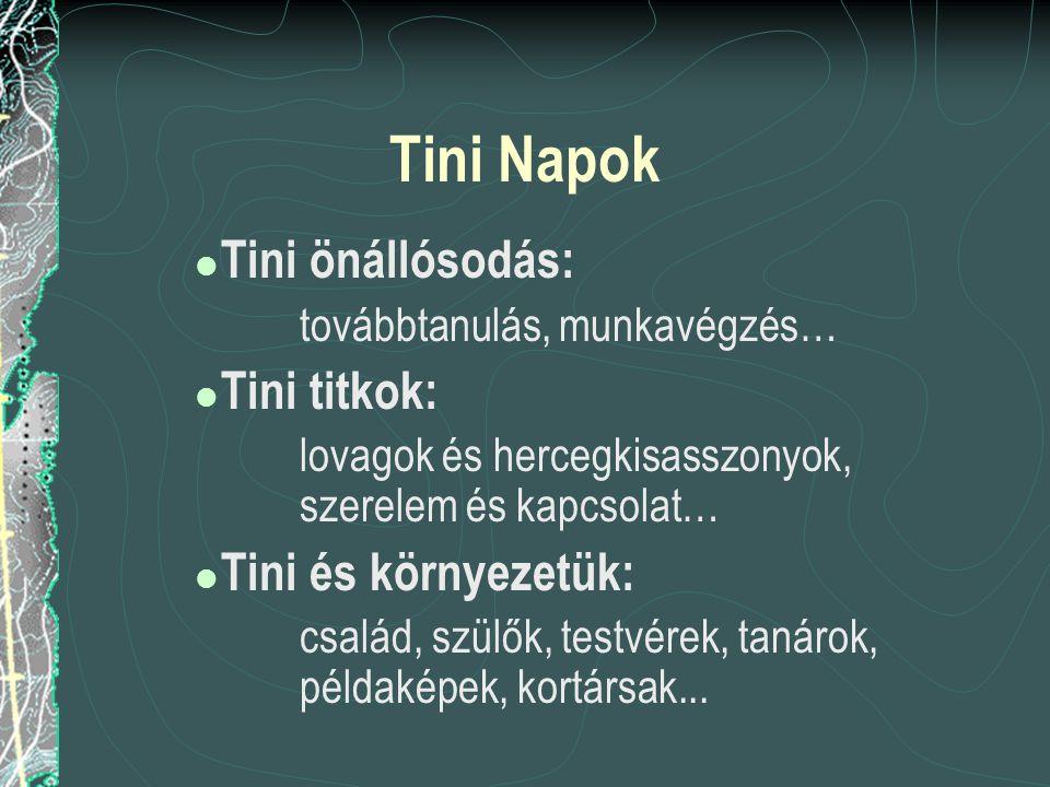 Tini Napok  Tini önállósodás: továbbtanulás, munkavégzés…  Tini titkok: lovagok és hercegkisasszonyok, szerelem és kapcsolat…  Tini és környezetük: család, szülők, testvérek, tanárok, példaképek, kortársak...