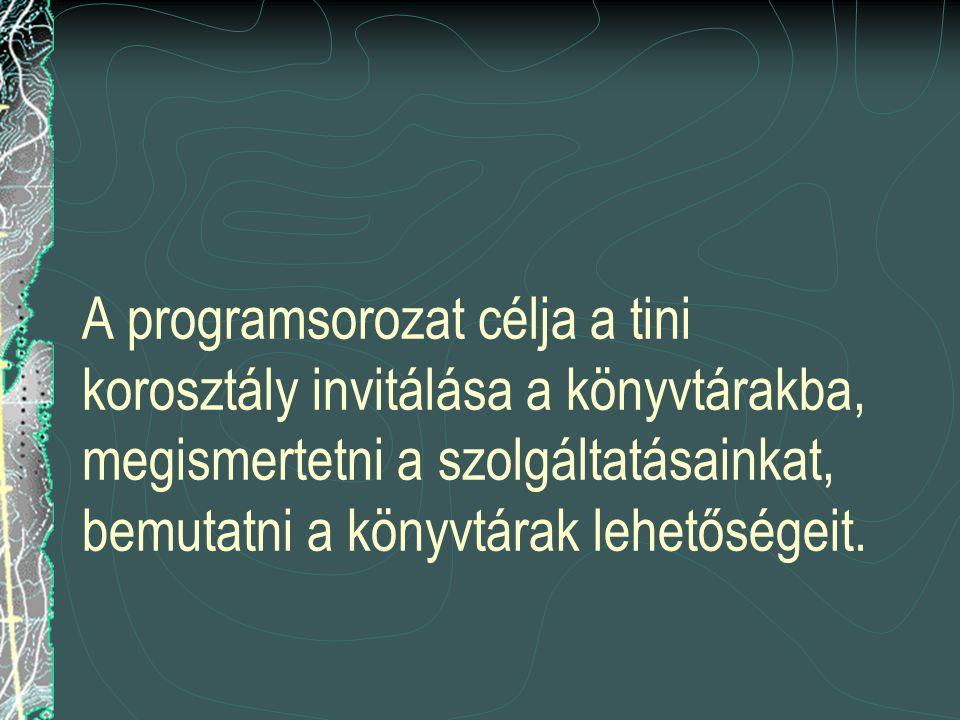 A programsorozat célja a tini korosztály invitálása a könyvtárakba, megismertetni a szolgáltatásainkat, bemutatni a könyvtárak lehetőségeit.