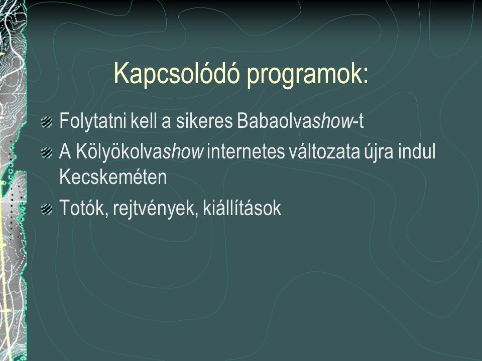 Kapcsolódó programok: Folytatni kell a sikeres Babaolva show -t A Kölyökolva show internetes változata újra indul Kecskeméten Totók, rejtvények, kiállítások