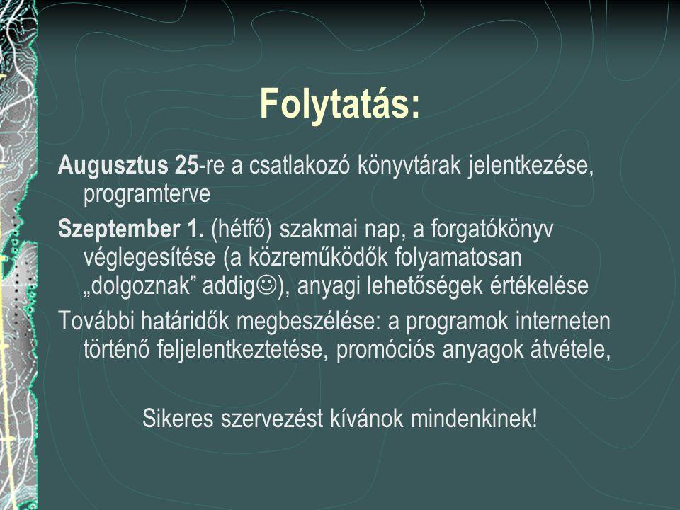 Folytatás: Augusztus 25 -re a csatlakozó könyvtárak jelentkezése, programterve Szeptember 1.