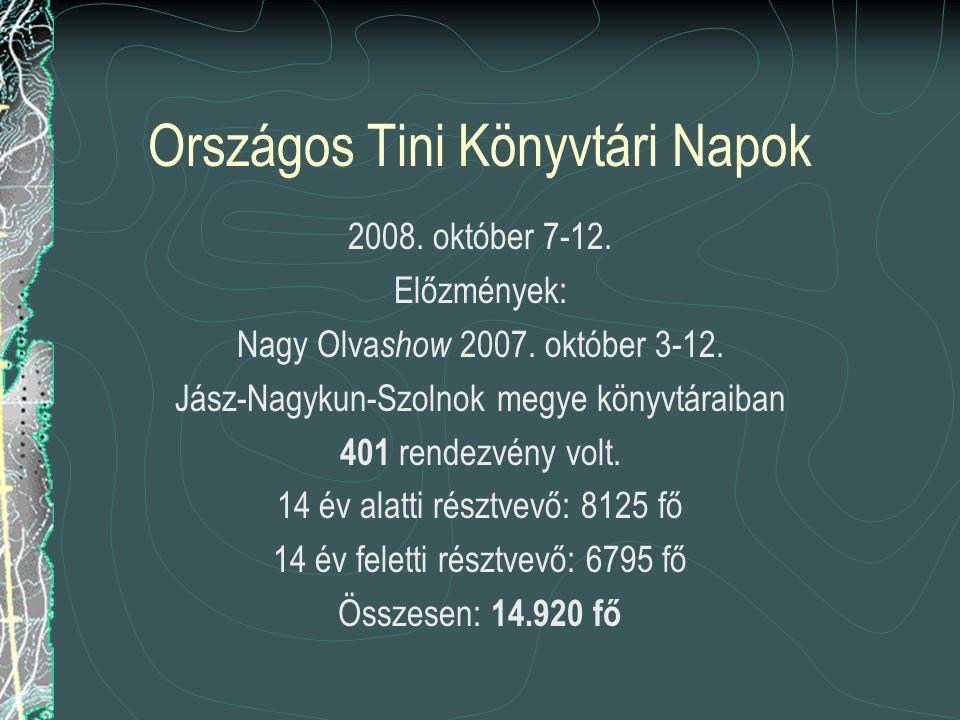 Országos Tini Könyvtári Napok 2008. október 7-12.