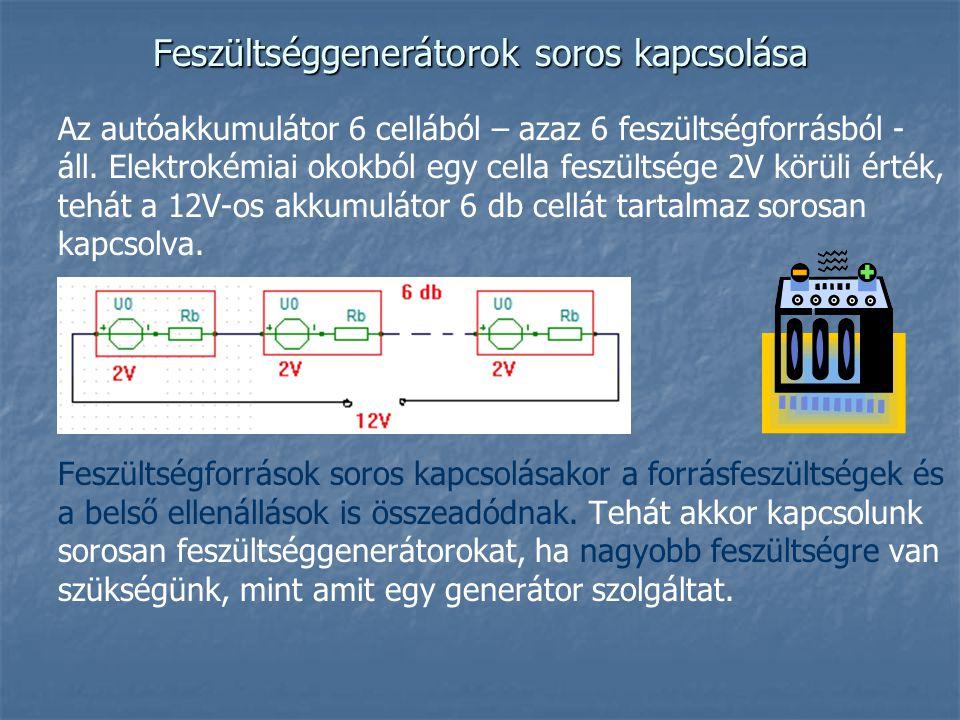 Feszültséggenerátorok soros kapcsolása Az autóakkumulátor 6 cellából – azaz 6 feszültségforrásból - áll. Elektrokémiai okokból egy cella feszültsége 2