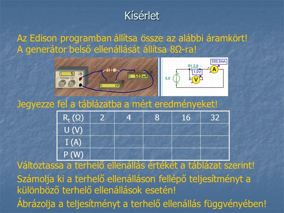 Kísérlet Az Edison programban állítsa össze az alábbi áramkört! A generátor belső ellenállását állítsa 8Ω-ra! Jegyezze fel a táblázatba a mért eredmén