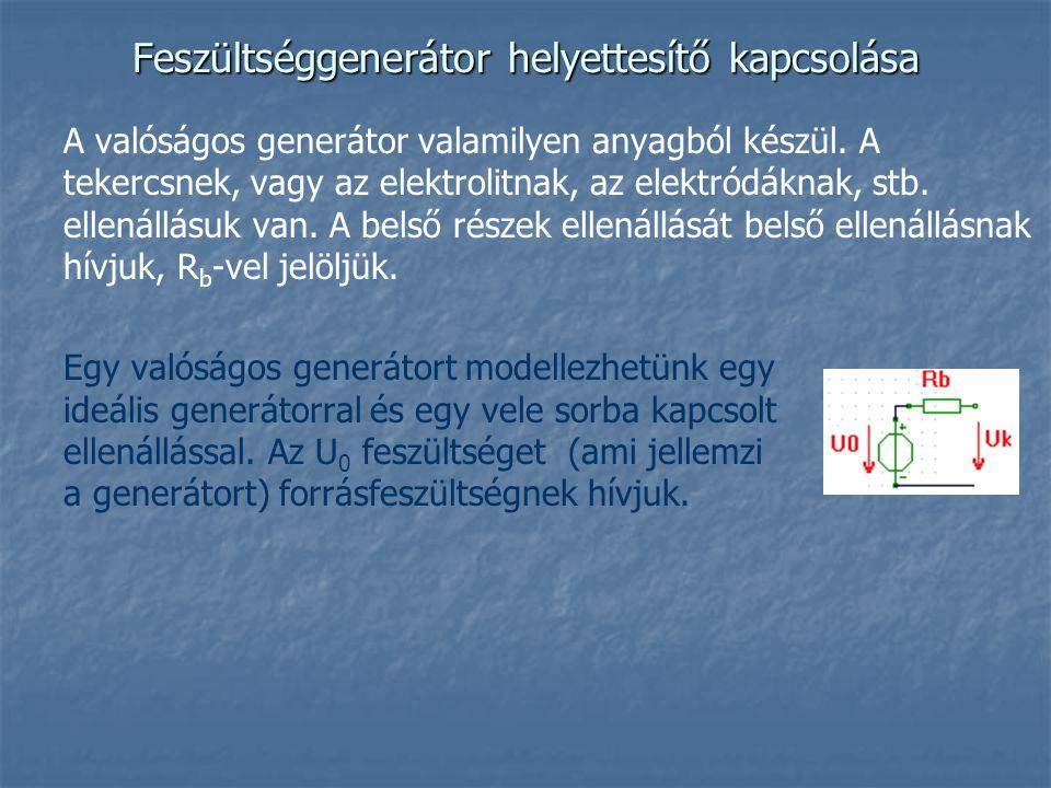 Feszültséggenerátor helyettesítő kapcsolása A valóságos generátor valamilyen anyagból készül. A tekercsnek, vagy az elektrolitnak, az elektródáknak, s