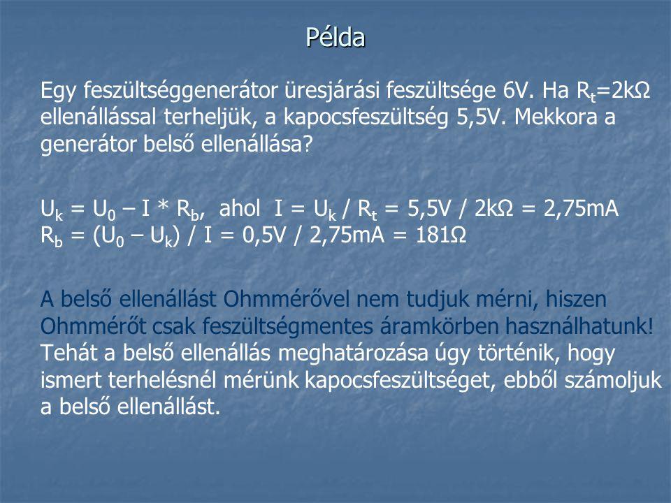 Példa Egy feszültséggenerátor üresjárási feszültsége 6V. Ha R t =2kΩ ellenállással terheljük, a kapocsfeszültség 5,5V. Mekkora a generátor belső ellen