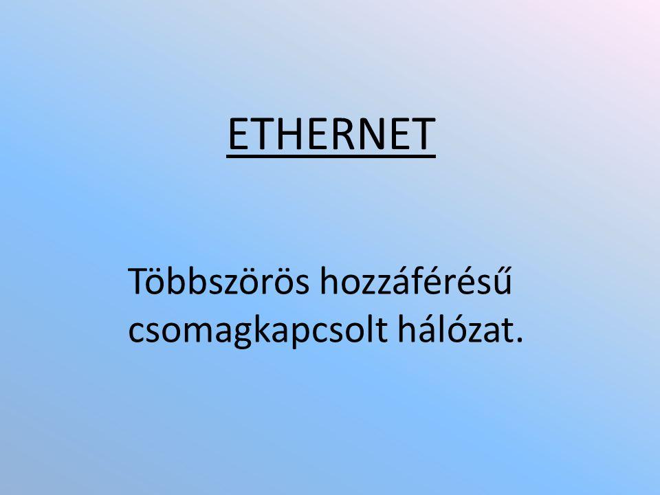 ETHERNET Többszörös hozzáférésű csomagkapcsolt hálózat.