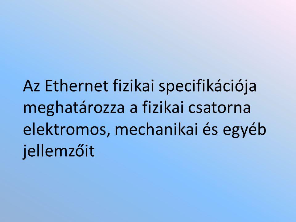 Az Ethernet fizikai specifikációja meghatározza a fizikai csatorna elektromos, mechanikai és egyéb jellemzőit