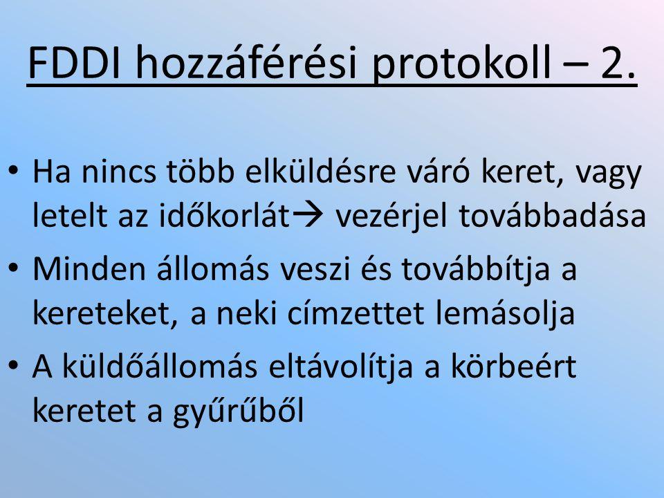 • Ha nincs több elküldésre váró keret, vagy letelt az időkorlát  vezérjel továbbadása • Minden állomás veszi és továbbítja a kereteket, a neki címzettet lemásolja • A küldőállomás eltávolítja a körbeért keretet a gyűrűből FDDI hozzáférési protokoll – 2.