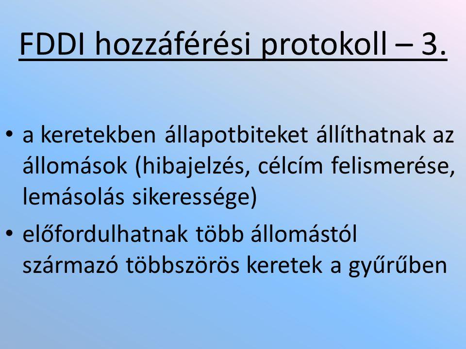• a keretekben állapotbiteket állíthatnak az állomások (hibajelzés, célcím felismerése, lemásolás sikeressége) • előfordulhatnak több állomástól származó többszörös keretek a gyűrűben FDDI hozzáférési protokoll – 3.