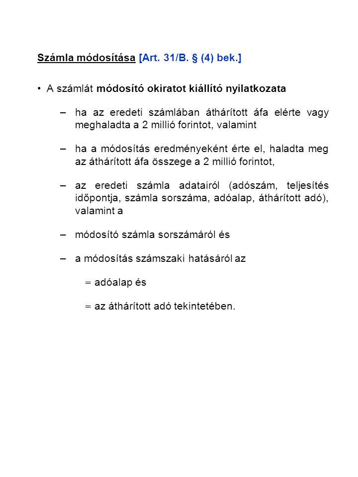 Számla módosítása [Art. 31/B.