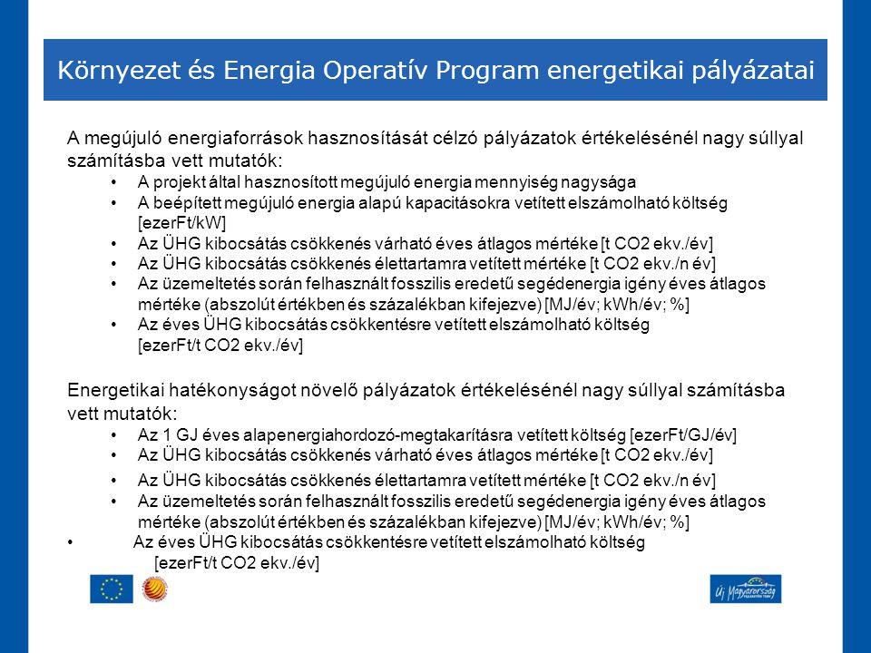 Környezet és Energia Operatív Program energetikai pályázatai A megújuló energiaforrások hasznosítását célzó pályázatok értékelésénél nagy súllyal szám