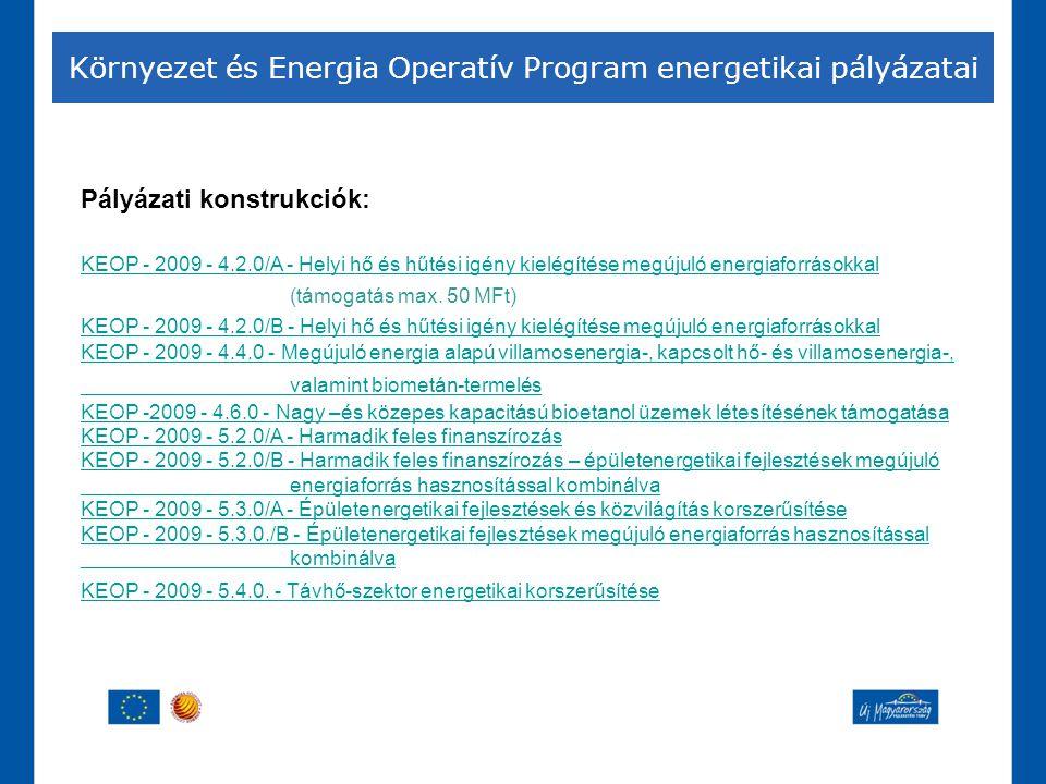 Környezet és Energia Operatív Program energetikai pályázatai Pályázati konstrukciók: KEOP - 2009 - 4.2.0/A - Helyi hő és hűtési igény kielégítése megú