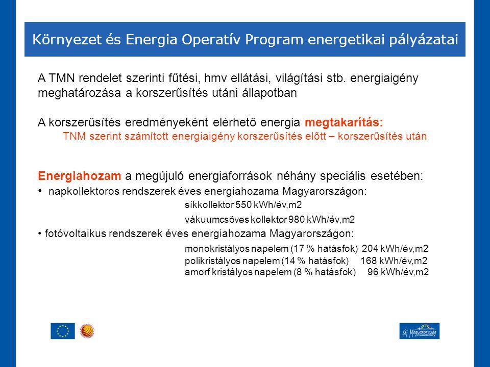 Környezet és Energia Operatív Program energetikai pályázatai A TMN rendelet szerinti fűtési, hmv ellátási, világítási stb. energiaigény meghatározása