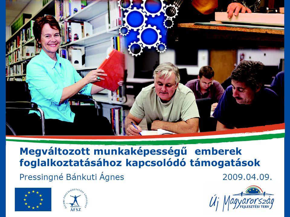 Megváltozott munkaképességű emberek foglalkoztatásához kapcsolódó támogatások Pressingné Bánkuti Ágnes 2009.04.09.
