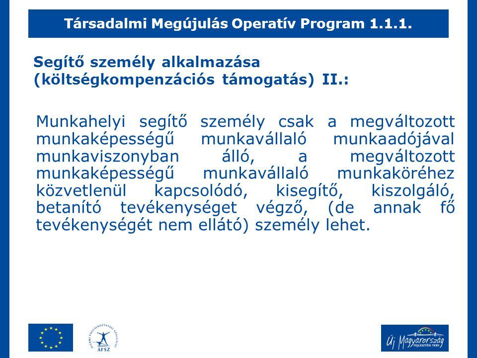 Segítő személy alkalmazása (költségkompenzációs támogatás) II.: Munkahelyi segítő személy csak a megváltozott munkaképességű munkavállaló munkaadójáva