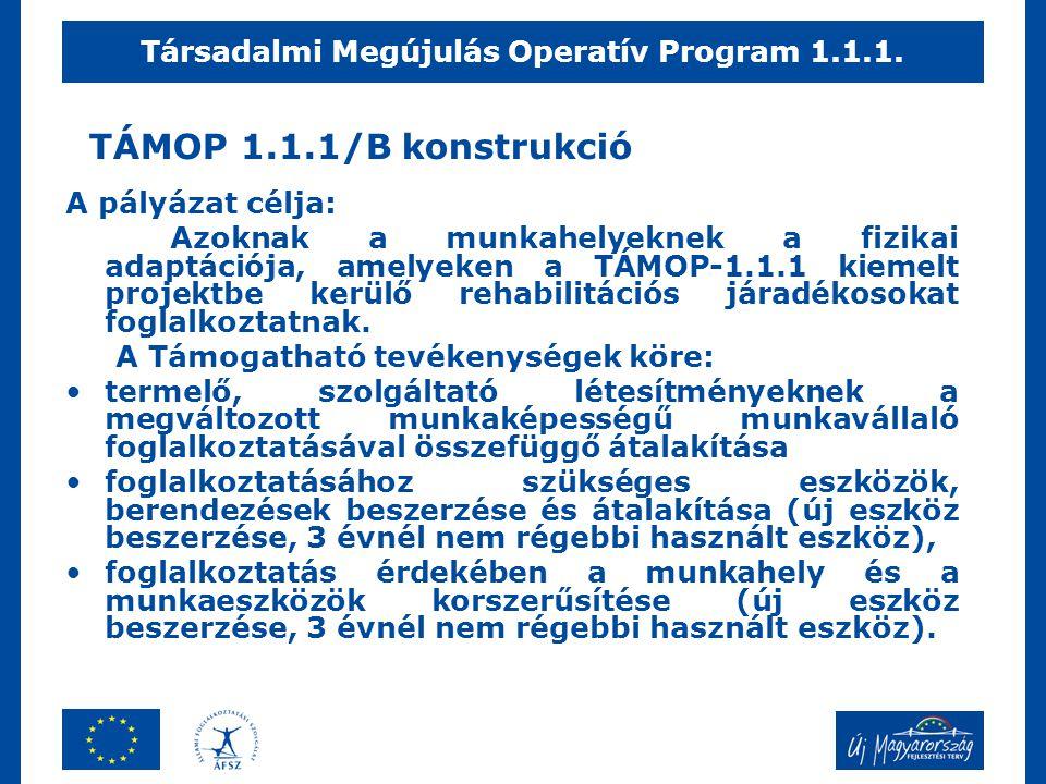 TÁMOP 1.1.1/B konstrukció A pályázat célja: Azoknak a munkahelyeknek a fizikai adaptációja, amelyeken a TÁMOP-1.1.1 kiemelt projektbe kerülő rehabilit
