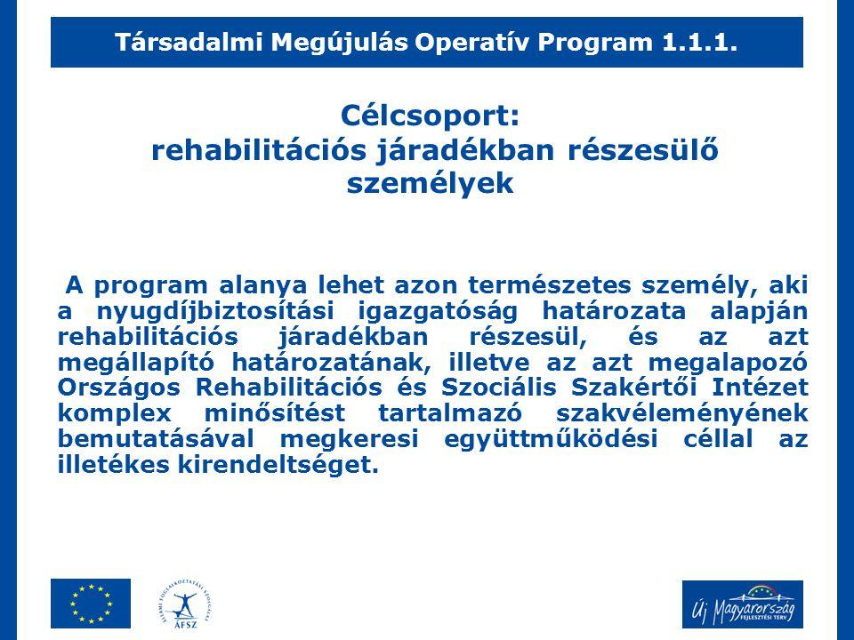 Célcsoport: rehabilitációs járadékban részesülő személyek A program alanya lehet azon természetes személy, aki a nyugdíjbiztosítási igazgatóság határo