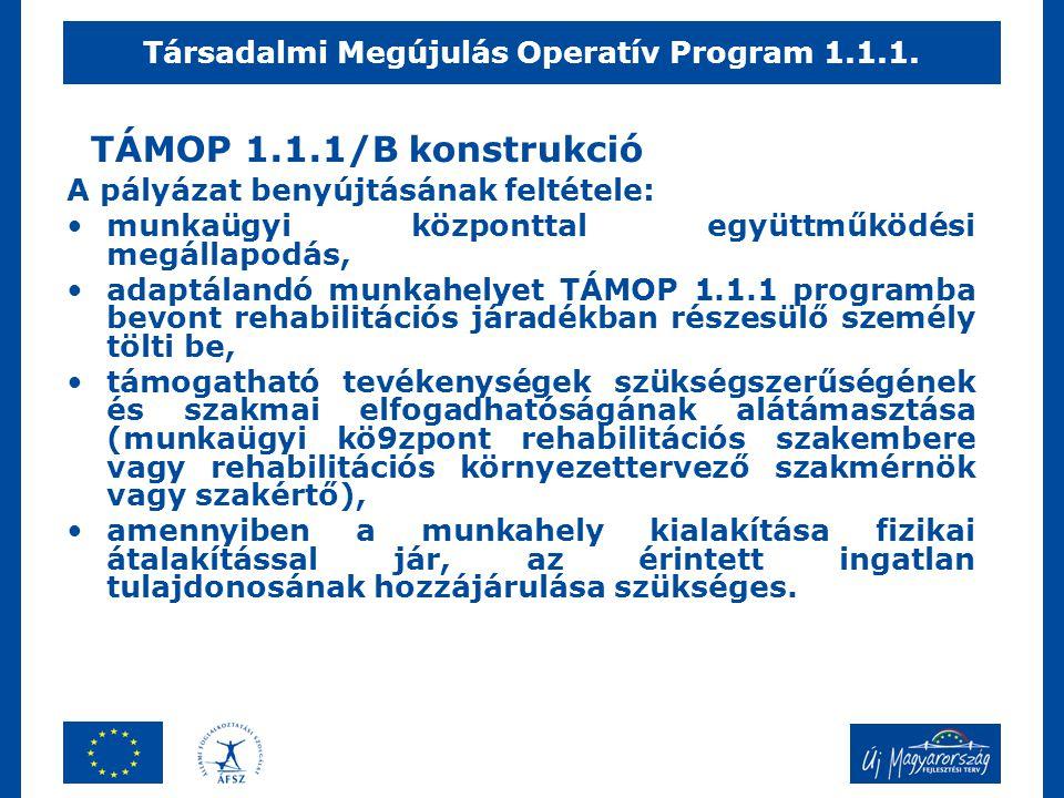 TÁMOP 1.1.1/B konstrukció A pályázat benyújtásának feltétele: •munkaügyi központtal együttműködési megállapodás, •adaptálandó munkahelyet TÁMOP 1.1.1