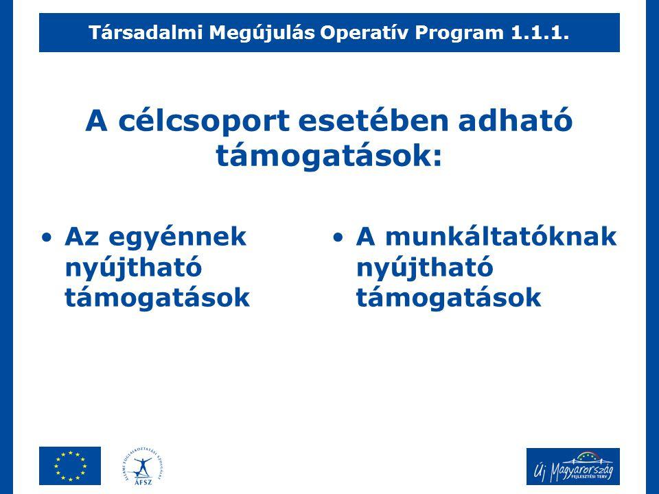 A célcsoport esetében adható támogatások: •Az egyénnek nyújtható támogatások •A munkáltatóknak nyújtható támogatások Társadalmi Megújulás Operatív Pro