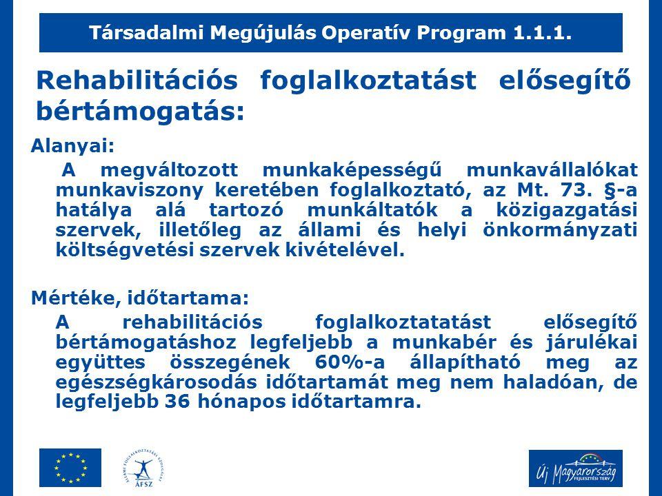 Rehabilitációs foglalkoztatást elősegítő bértámogatás: Alanyai: A megváltozott munkaképességű munkavállalókat munkaviszony keretében foglalkoztató, az