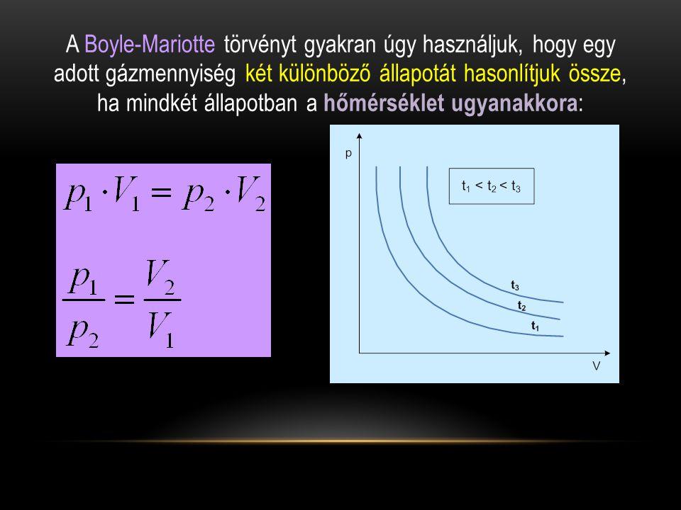 A Boyle-Mariotte törvényt gyakran úgy használjuk, hogy egy adott gázmennyiség két különböző állapotát hasonlítjuk össze, ha mindkét állapotban a hőmérséklet ugyanakkora :