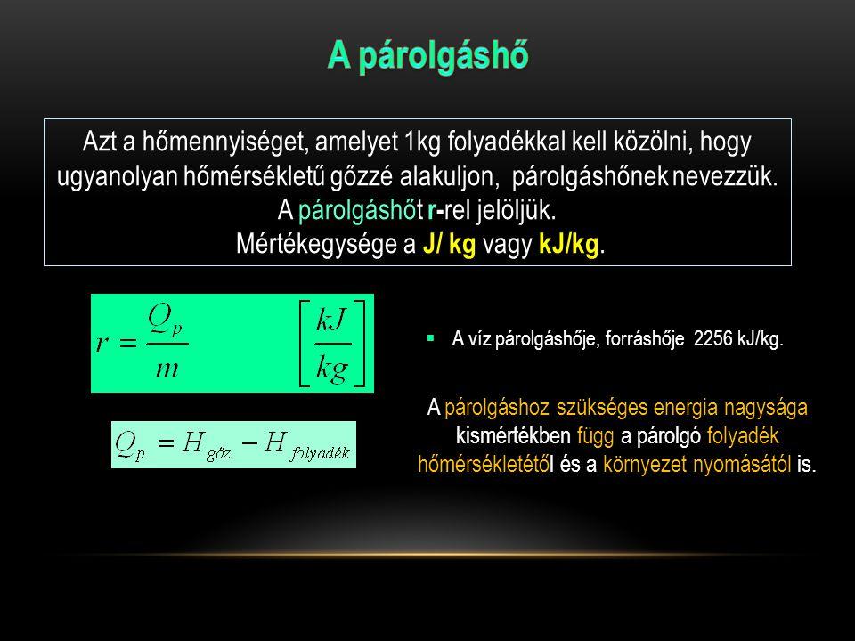 Azt a hőmennyiséget, amelyet 1kg folyadékkal kell közölni, hogy ugyanolyan hőmérsékletű gőzzé alakuljon, párolgáshőnek nevezzük.