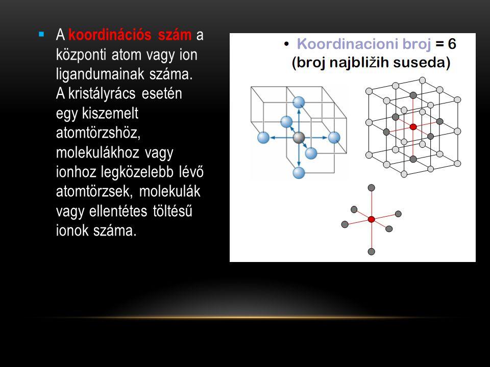  A koordinációs szám a központi atom vagy ion ligandumainak száma.