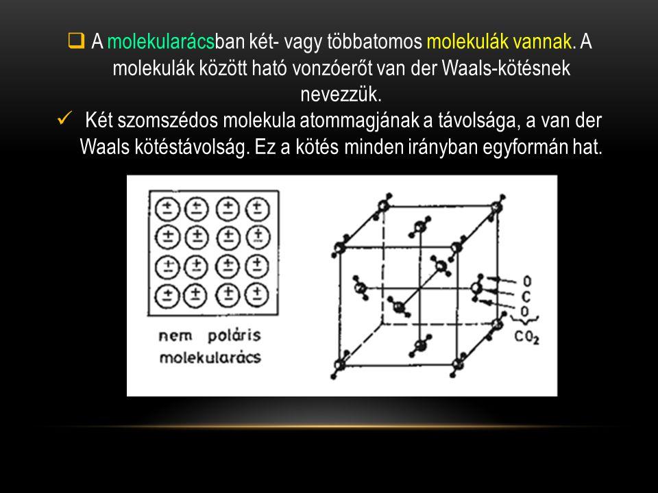  A molekularácsban két- vagy többatomos molekulák vannak.