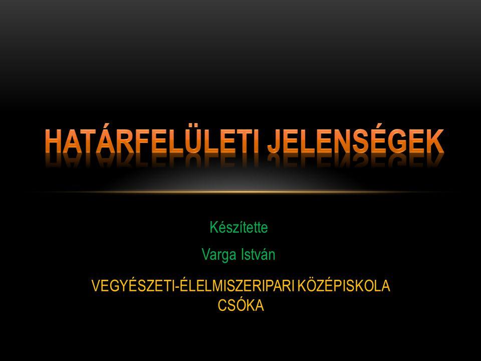 Készítette Varga István VEGYÉSZETI-ÉLELMISZERIPARI KÖZÉPISKOLA CSÓKA