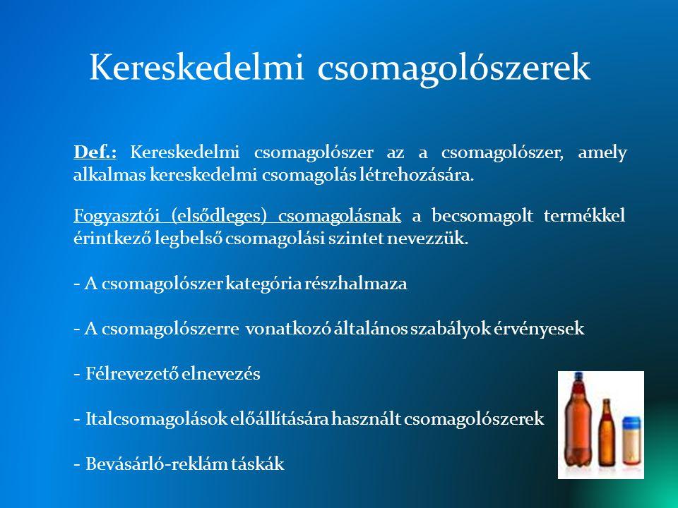 I.Kereskedelmi (ital)csomagolás Def.: Meghatározott italok fogyasztói csomagolása.