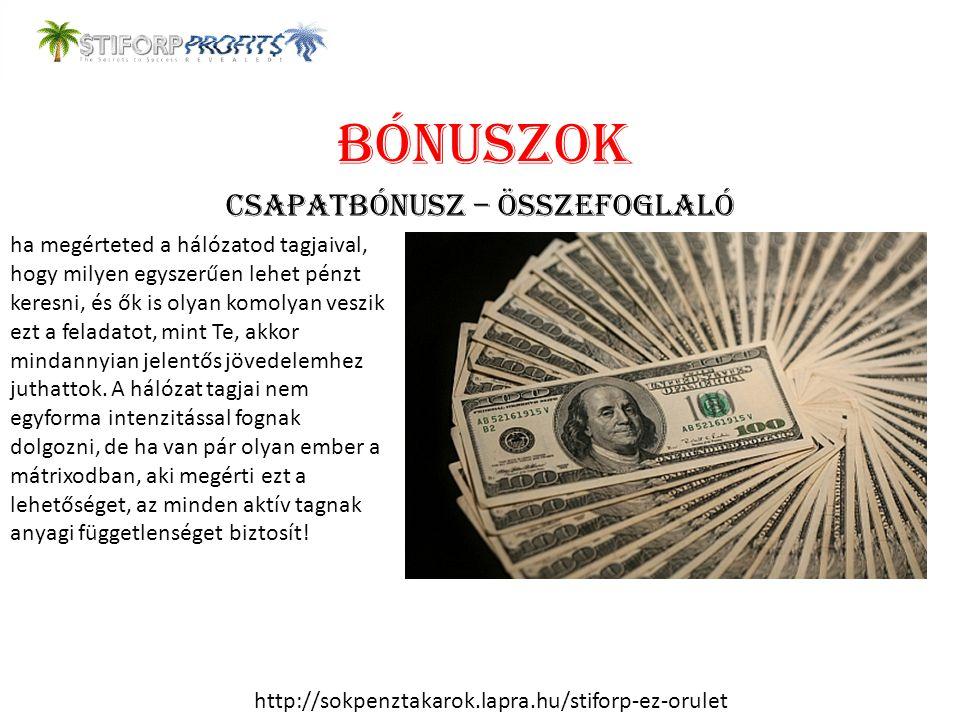 BÓNUSZOK CSAPATBÓNUSZ – ÖSSZEFOGLALÓ ha megérteted a hálózatod tagjaival, hogy milyen egyszerűen lehet pénzt keresni, és ők is olyan komolyan veszik e