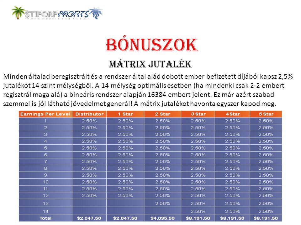 BÓNUSZOK MÁTRIX JUTALÉK Minden általad beregisztrált és a rendszer által alád dobott ember befizetett díjából kapsz 2,5% jutalékot 14 szint mélységből