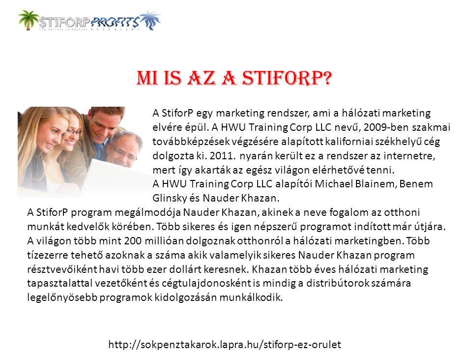 Mi is az a StiforP? A StiforP egy marketing rendszer, ami a hálózati marketing elvére épül. A HWU Training Corp LLC nevű, 2009-ben szakmai továbbképzé