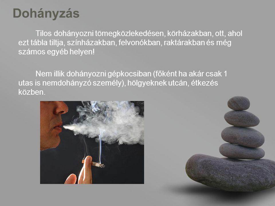 Dohányzás Tilos dohányozni tömegközlekedésen, körházakban, ott, ahol ezt tábla tiltja, színházakban, felvonókban, raktárakban és még számos egyéb helyen.
